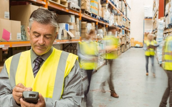 Male warehouse manager checking stock on a handheld device